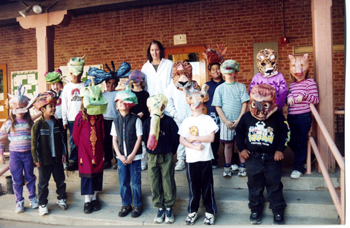 Nina Borgia-Aberle with students at Borton Elementary School